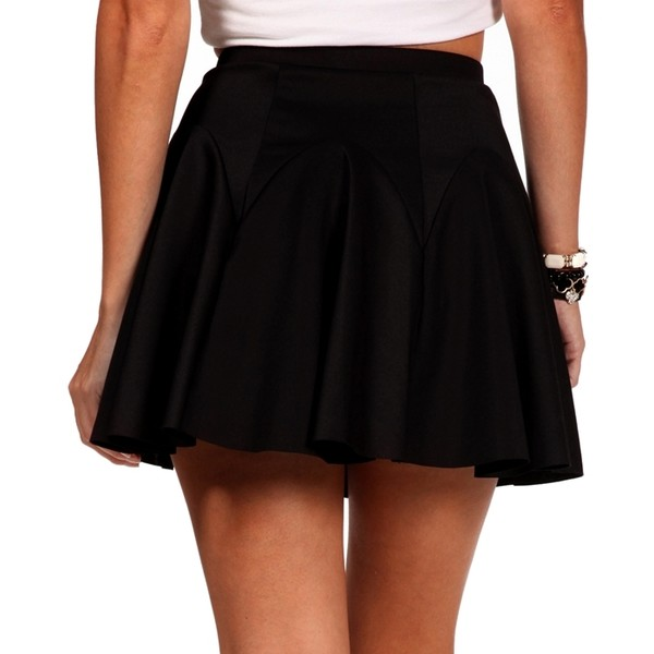 Black Pleated Skater Skirt - Polyvore