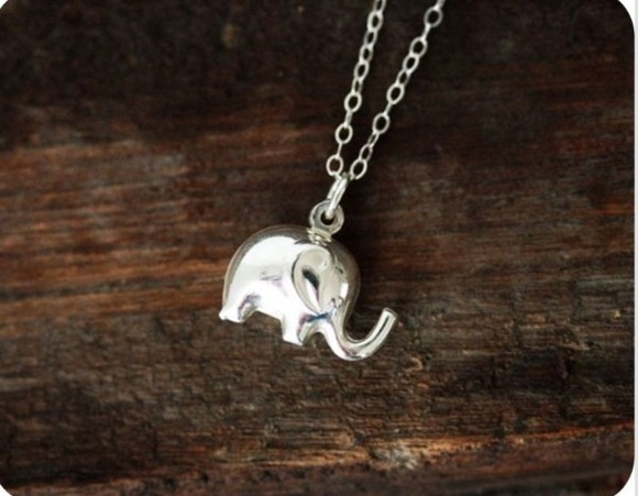 elephant elephant necklace silver necklace necklace
