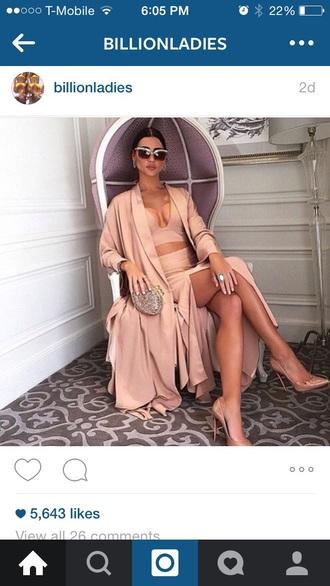 dress beyonce kim kardashian kylie jenner kendall jenner rihanna fashion style crop tops cut out crop top nude dress kim kardashian nude dress nude pumps shoes high heels