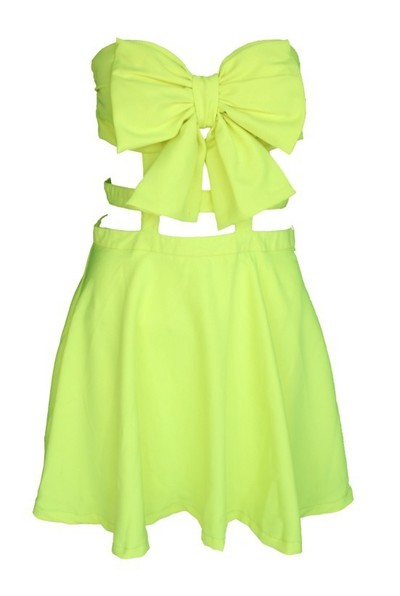 Caged Up Bow Dress - Mint & Pink