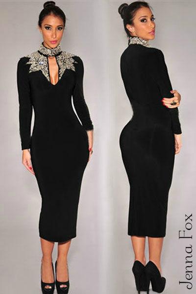 New sexy black long sleeve silver sequin mock neck midi bodycon v