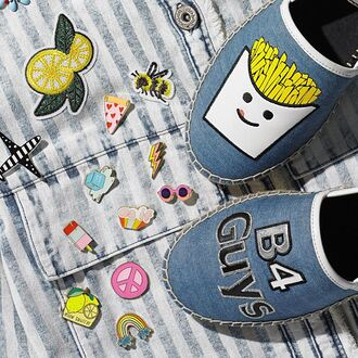 shoes circus macys sam edelman flat sandals flats patched denim fries summer pins home accessory denim patches pizza patch guys ice cream peace sign rainbow