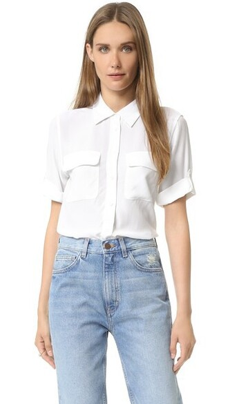 blouse short white bright top