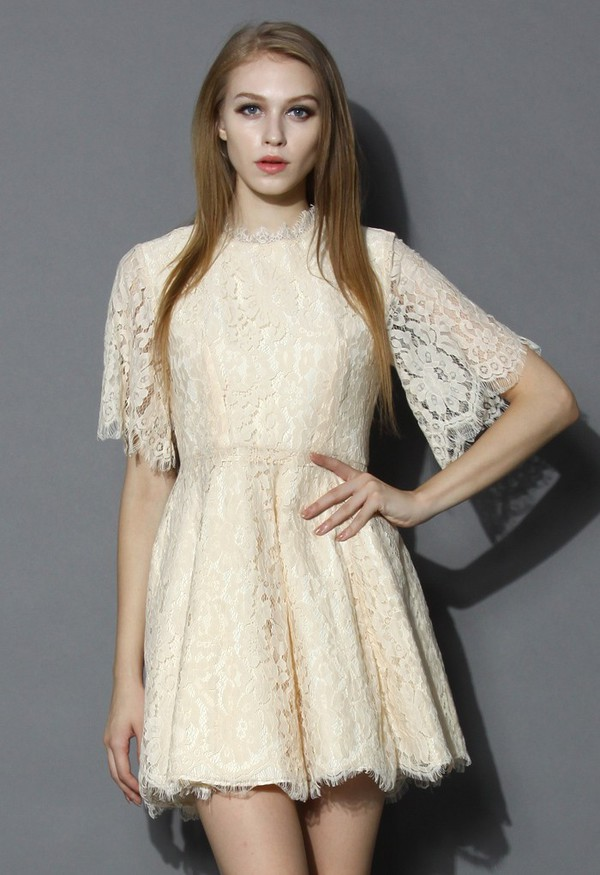 chicwish floral full lace dress
