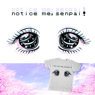 shirt senpai manga manga shirt anime eyes stars pastel pastel goth tumblr t-shirt kawaii fairy kei notice me senpai grunge