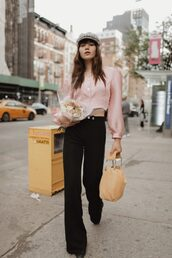 pants,black pants,wide-leg pants,pink top,top,hat,bag