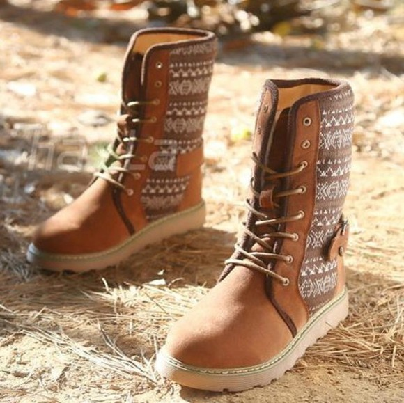 shoes folk retro boot lace up