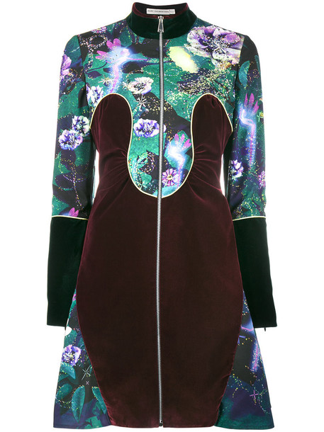 MARY KATRANTZOU dress print dress women cotton print silk green