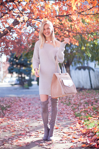 cocorosa blogger dress suede boots grey boots knitted dress maxi bag suede bag