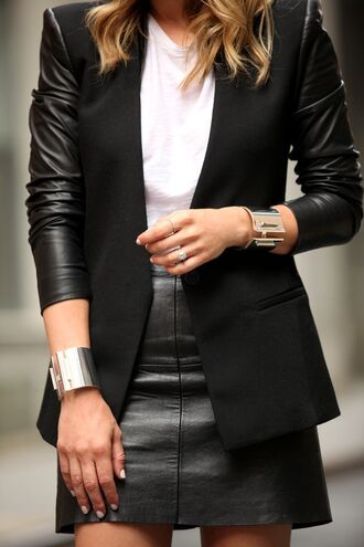 jacket leather sleeves leather skirt black leather skirt bracelets white t-shirt brooklyn blonde blogger