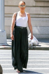shoes,jennifer lopez,maxi skirt,top,white top,tank top,bag,sunglasses,sandals,summer outfits,summer,summer top