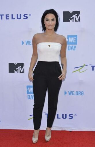 jumpsuit demi lovato black and white pants strapless pumps
