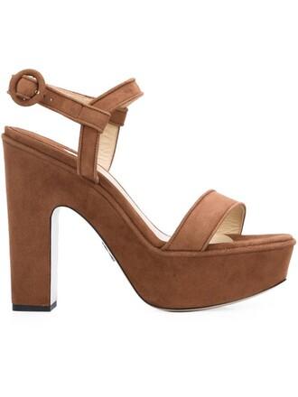 women sandals platform sandals leather suede brown shoes