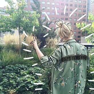 jacket yeah bunny pear cute leaves 36683 army green jacket fringes birds tumblr