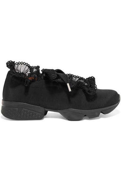 Ganni chiffon sneakers black satin shoes