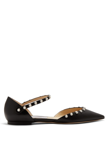 Jimmy Choo pearl embellished flats leather flats leather black shoes