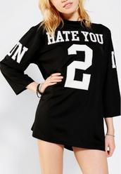 shirt,jersey,jersey tee,black,white,black and white,oversized,cute,flirty,t-shirt,dress