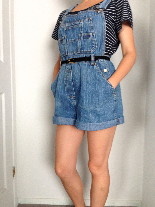 Vintage 1990s Overall Shorts / Blue Denim Bib Romper / Jean Dungarees / Vtg Jumpsuit / Size Medium-Large