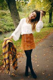 skirt,camel suede skirt,suede skirt,camel skirt,tights,shirt,white shirt,scarf,tartan,tartan scarf,flare shirt,zoe sugg,youtuber,boots,black boots