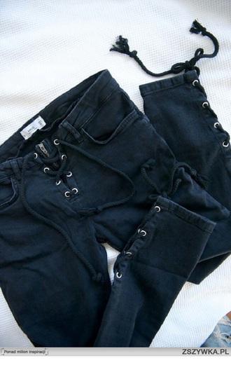 jeans black black jeans pants black pants skinny jeans lace up fashion