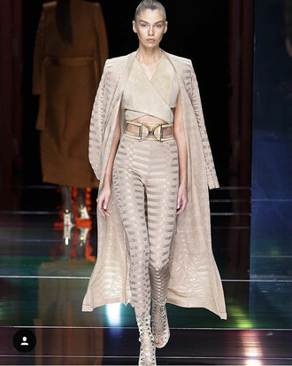 belt runway balmain coat pants nude waist belt suede fashion cardigan nude outfit long cardigan leggings nude leggings party classy elegant cute girly sexy sexy outfit wedding guest romantic all nude everything couture