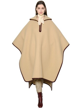 cape oversized wool beige top