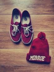 hat,bobble hat,beanie,shoes,vans,red,wine red,bonnet,monroe