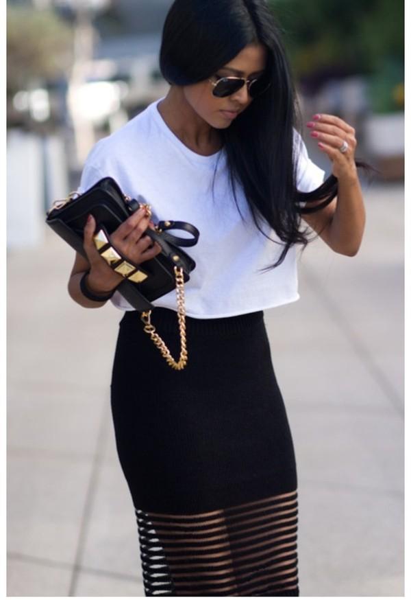 bag black clutch gold skirt