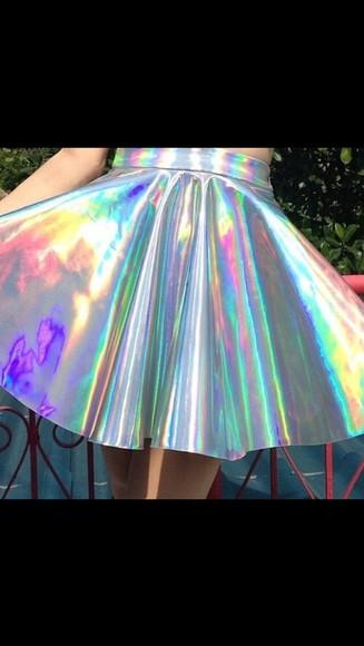 holographic metallic metallic skirt a-line skirt