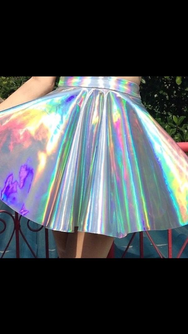 metallic skirt metallic holographic a-line skirt