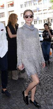 dress,silver,metallic,long sleeve dress,sunglasses,turtleneck,fringes,flats,shoes