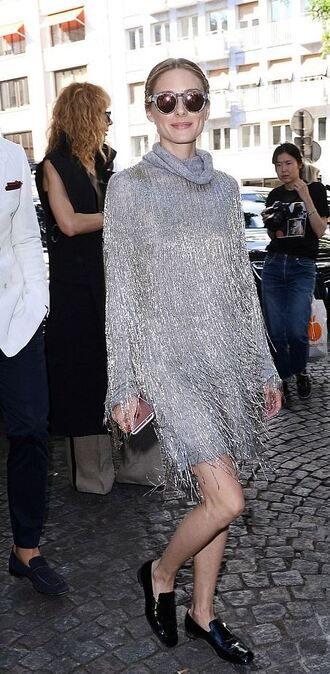 dress silver metallic long sleeve dress sunglasses turtleneck fringes flats shoes