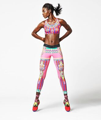 leggings pink colorful clothes rainbow nike nike pro colorful colorful leggings training pants nike free run color/pattern