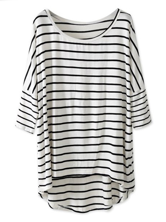 White & black striped batwing sleeve oversized tee
