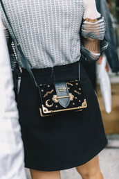 bag,tumblr,black bag,embellished,embellished bag,prada,prada bag,mini skirt,skirt,black skirt,top,grey top