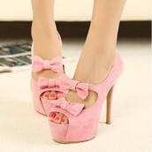 shoes,bows,peep toe heels,platform heels,high heels,baby pink