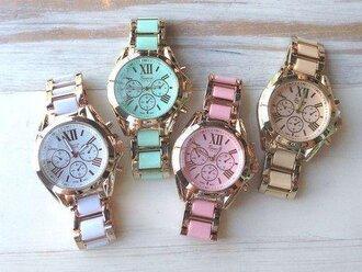 jewels watch cute white pastel pink