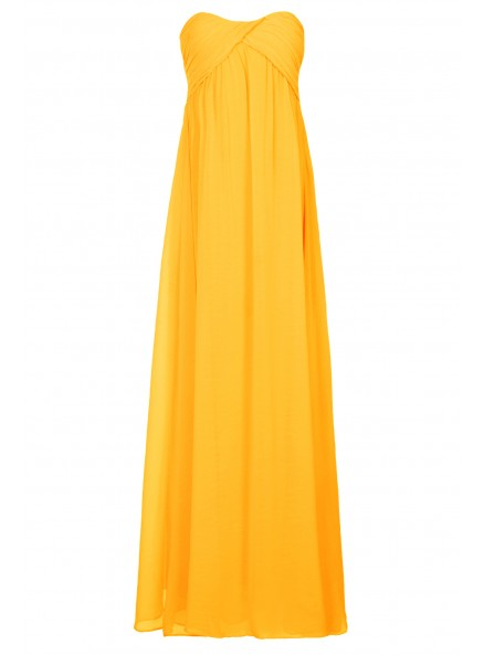 Sunshine yellow ruched maxi prom dress