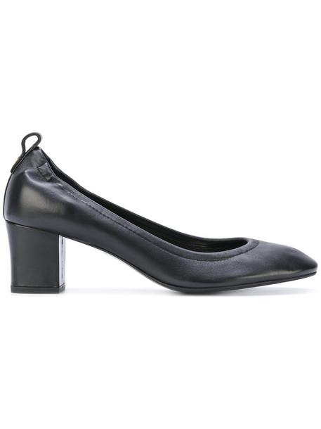 lanvin heel women pumps leather black shoes