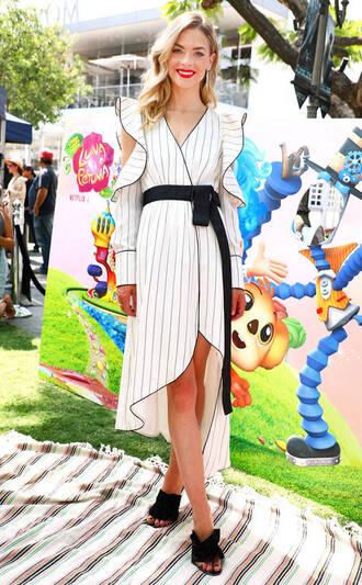 dress wrap dress stripes striped dress jaime king mini dress asymmetrical asymmetrical dress sandals mules shoes