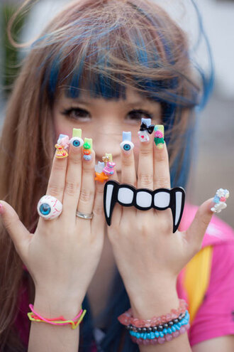 jewels japan ring vampire fang halloween halloween accessory nail stickers fake nails