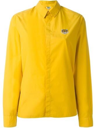 shirt embroidered tiger yellow orange top