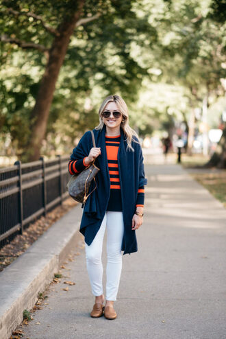 bows&sequins blogger sweater jeans shoes bag loafers louis vuitton bag white pants fall outfits