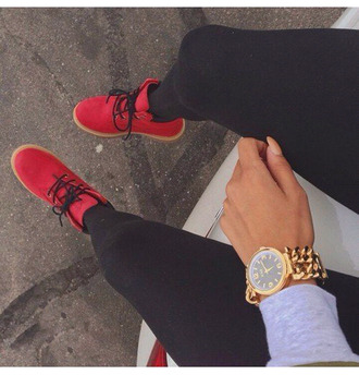 shoes red red shoes boots jewels gold watch red timberlands sneakers black lace ankle boots cool modern red boots