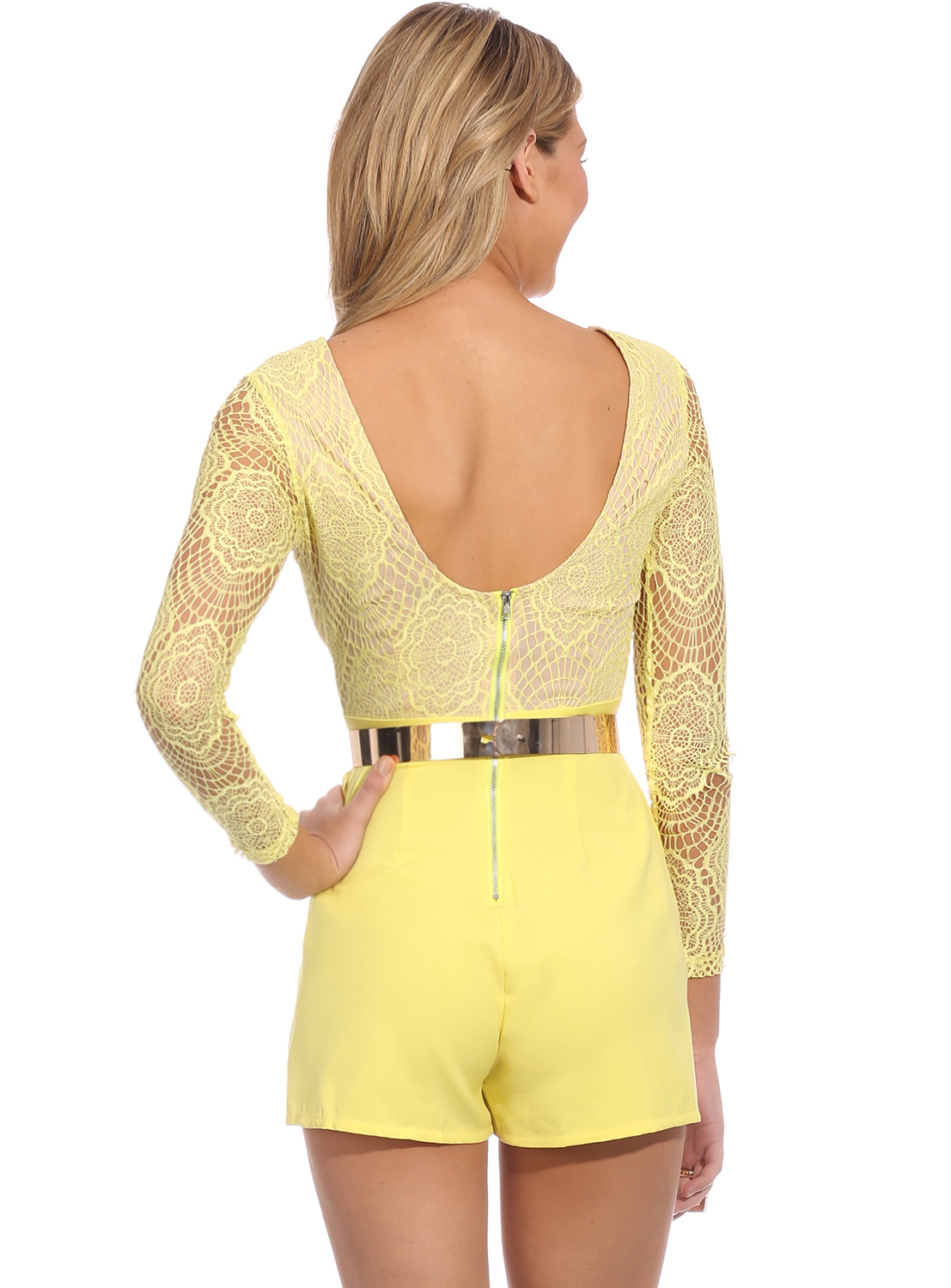 Yellow Long Sleeve Contrast Lace Top Jumpsuit - Sheinside.com