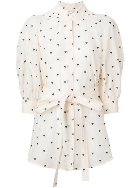 blouse heart women nude cotton print silk top