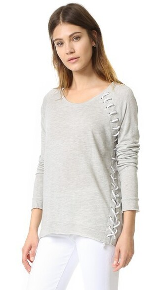 top lace up top lace grey