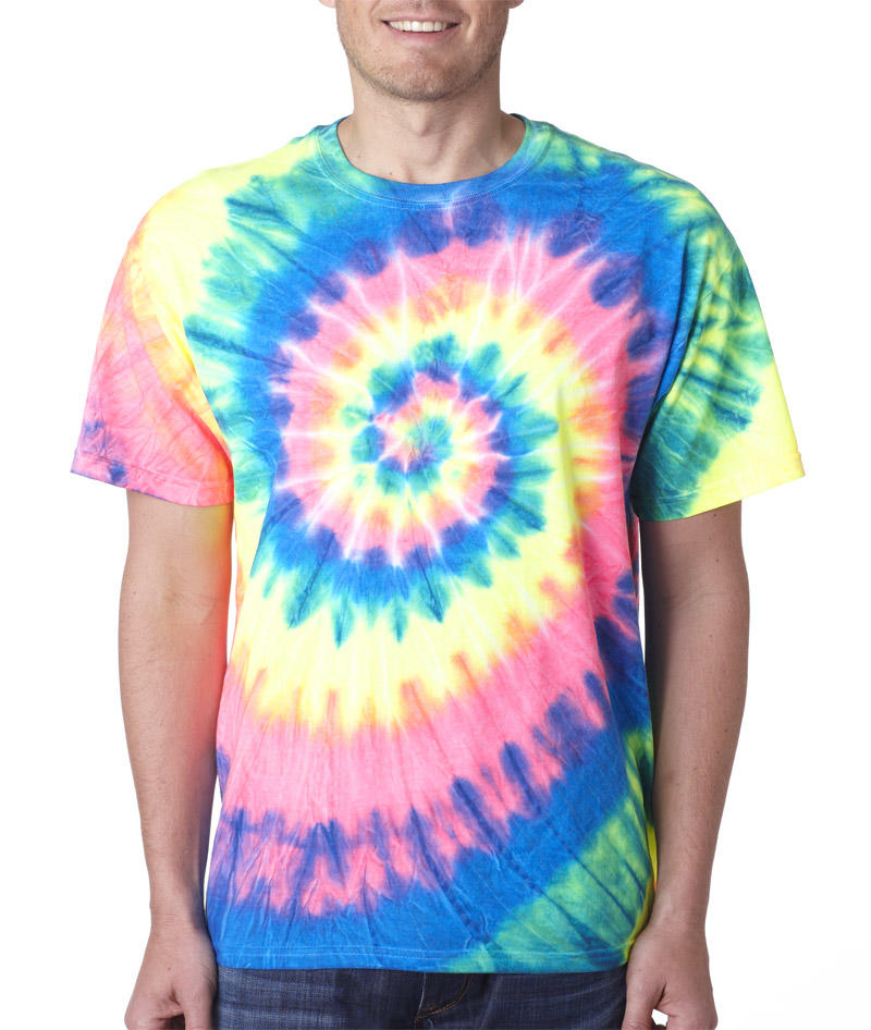 69 gildan tie dye adult neon pigment dyed spiral tee for Neon colored t shirts wholesale