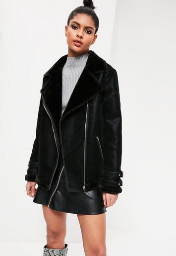 b059af3a5 Missguided - Black Oversized Faux Fur Lined Aviator Jacket
