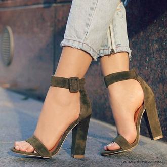 shoes heels high heels suede heels taupe nightwear cute sexy suede green taupe